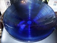 "LARGE RICH DEEP COBALT BLUE GLASS PEDESTAL DISH FINE RIBBED OUTER 15.75"" TOP DIA"